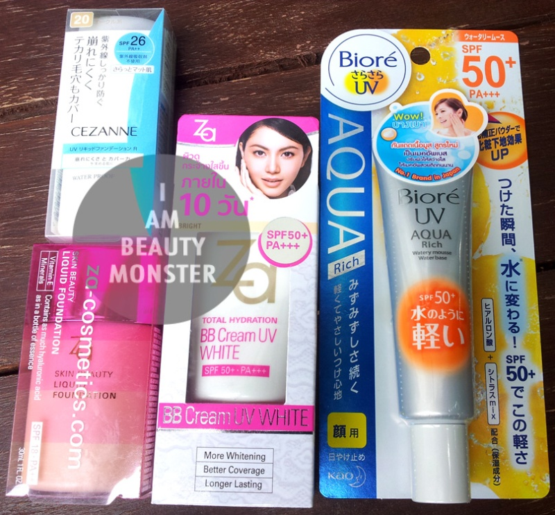 Biore UV Aqua Rich, ZA Total Hydration BB cream UV white, CEZANNE UV Liquid Foundation Water Proof, ZA Skin Beauty Liquid Foundation, รีวิว ครีมกันแดด, รีวิว ครีมกันแดดราคาถูกและดี, รีวิว Biore UV Aqua Rich, รีวิว ZA Total Hydration BB cream UV white, รีวิว CEZANNE UV Liquid Foundation Water Proof, รีวิว ZA Skin Beauty Liquid Foundation, รีวิว ครีมกันแดดเทพ, UV Protection review, Sun Block review, Sunscreen review, Japanese Makeup Review, Review, Foundation, foundation review, Drug Store, Drug Store Foundation, Drug Store Foundation Review, BB cream review, รีวิว ครีมรองพื้น Drug store, รีวิว เครื่องสำอาง Drug Store