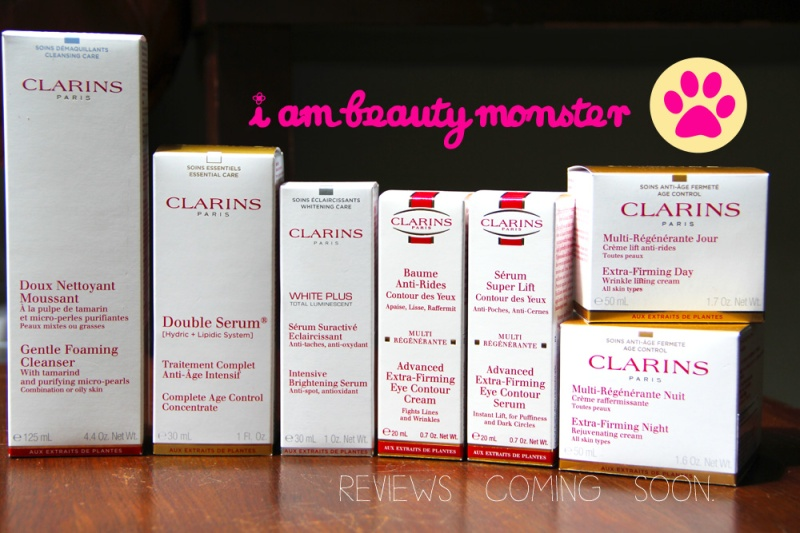 shopping bag, Clarins Skincare, Haul, CLARINS, Clarins trial set, Clarins Double Serum, Clarins Extra Firming Day Cream, Clarins Extra Firming Night Cream, Clarins Extra Firming Eye Serum, Clarins Gentle Foaming Cleanser with Tamarind, Skincare, cat, beauty blogger, beauty review, cat review, review skincare by cat, review cosmetics by cat, cat blogger