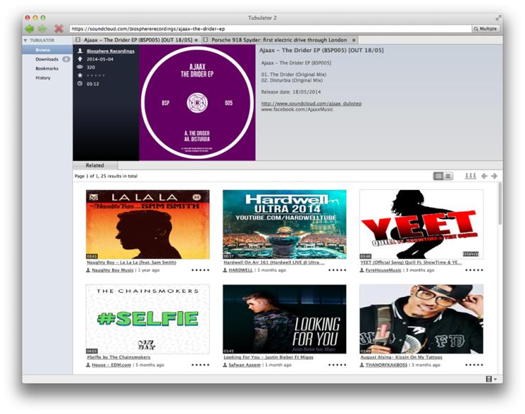ตัวอย่าง : บราวซ์ และดาวน์โหลดไฟล์เพลงจาก SoundCloud